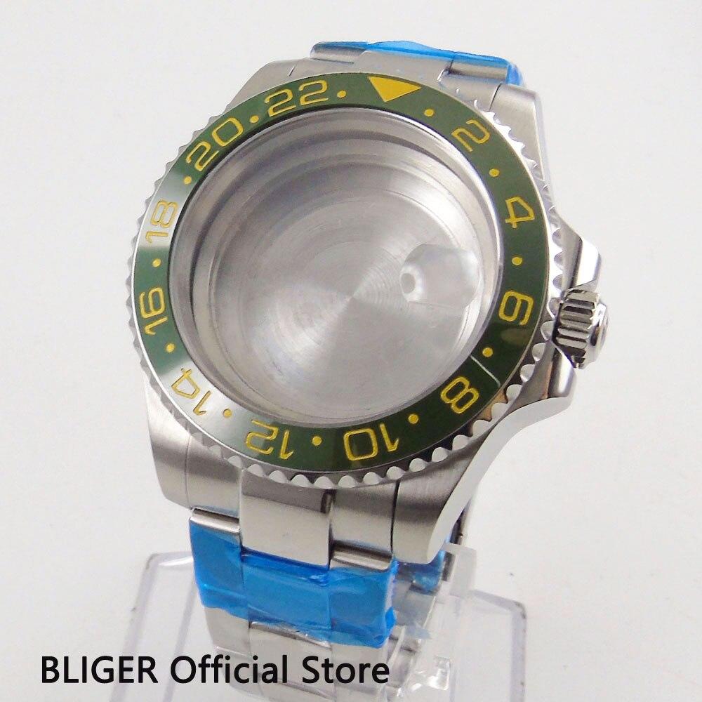 Saphir cristal 43 MM grand boîtier de montre en céramique verte lunette boîte en acier inoxydable pour ETA 2836 mouvement montre pour hommes