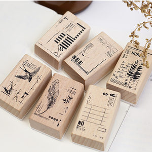 3x5cm Vintage Leaves Swallow feather stamp DIY wooden rubber stamps for scrapbooking stationery scrapbooking standard stamp