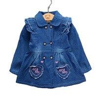 Neue 2018 Kinder Mädchen Kleinkind Kleidung Frühling Denim Punkte Strickjacke Blusen Für Baby Kids Cowboy Bluse Shirts Tops 28