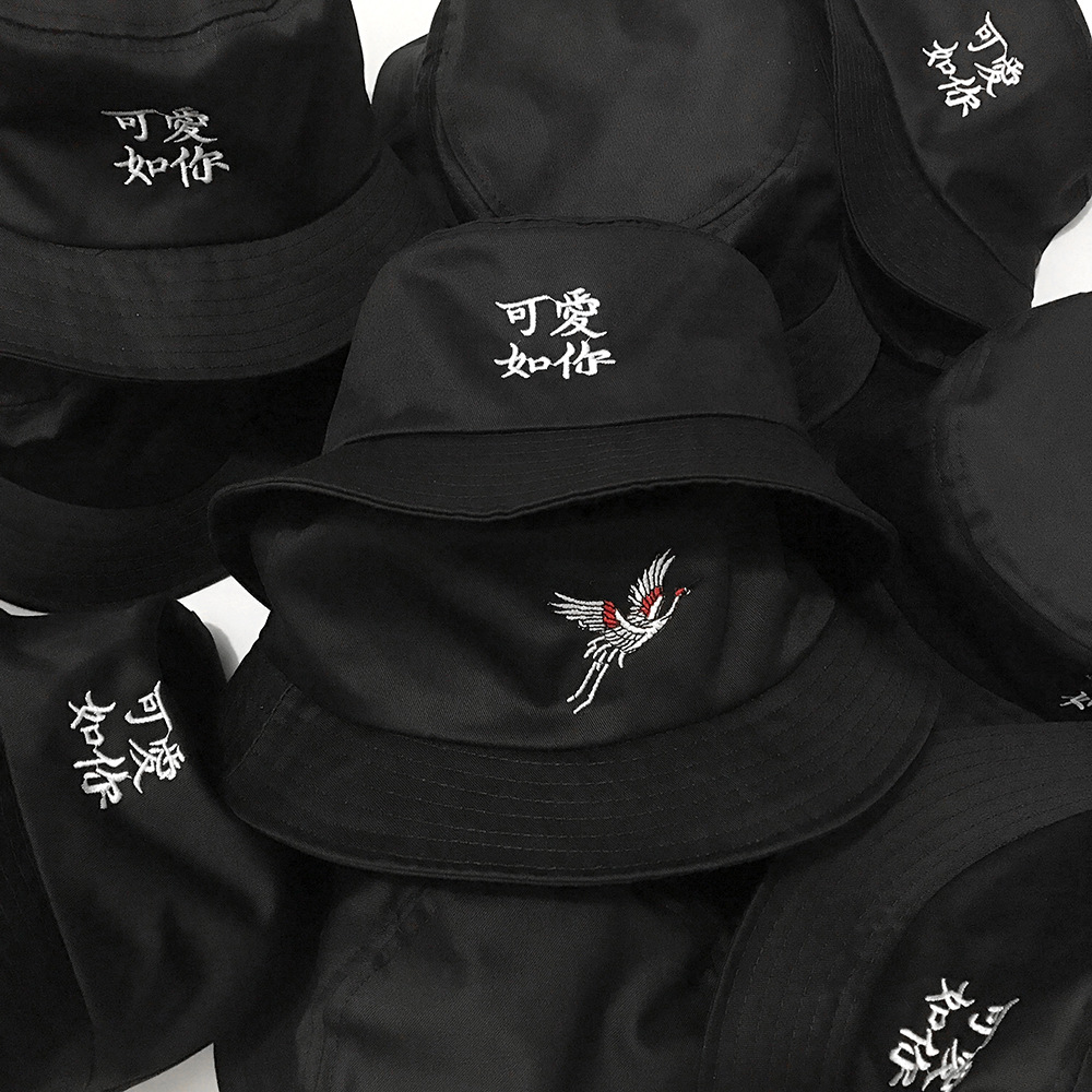 Chinese Style Crane Embroidery Bucket Hat Travelling Character Pattern Couple Bucket Hat