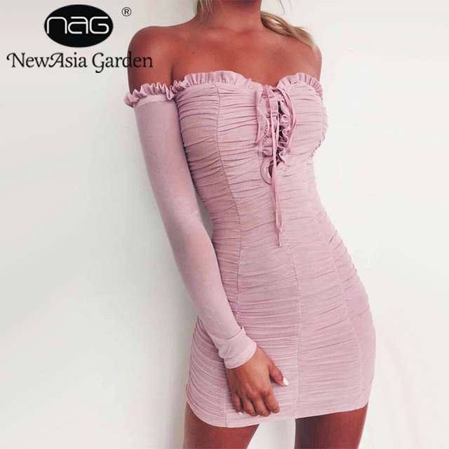 New Asia Garden Strapless Tie Up Women Dress Pink Sheer Sexy Dress Summer Dress Ruched The Lodge Pleated Mini Dress Vestidos New  by New Asia Garden