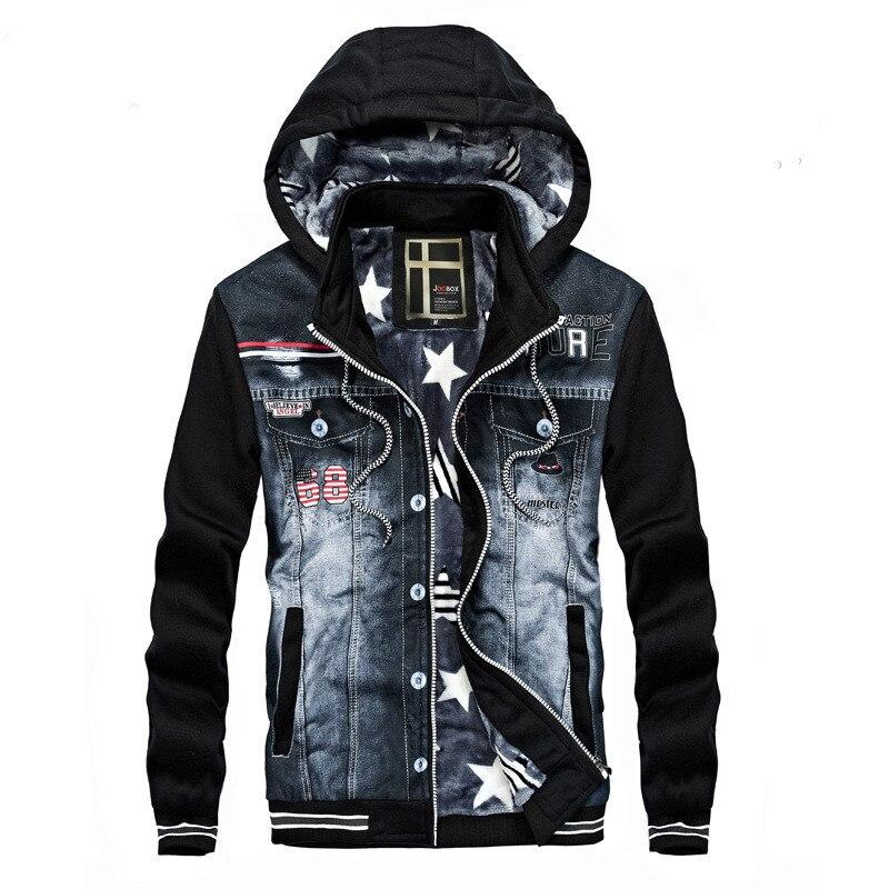 New Men Denim Jacket Fashion Cowboy Stitching Hooded Fleece winter Jackets Coat For Men Coats Plus Size Outwear streetwear 21