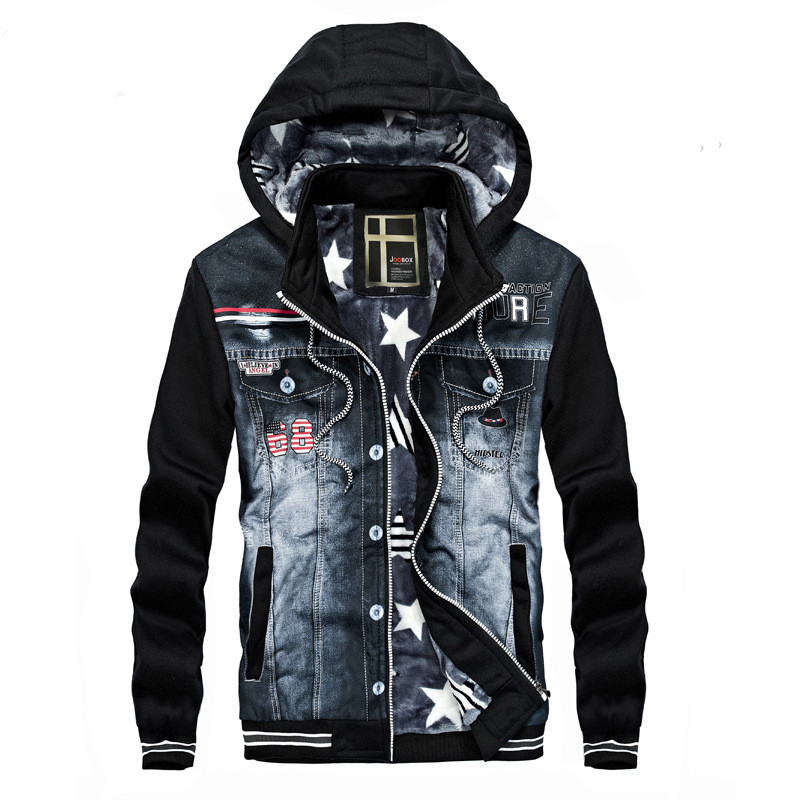 New Men Denim Jacket Fashion Cowboy Stitching Hooded Fleece winter Jackets Coat For Men Coats Plus Size Outwear streetwear