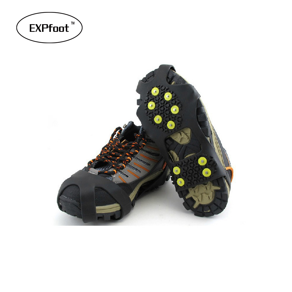 10 Rubber Teeth Non-Slip Ice Gripper Snow Crampon Mountaineering Climbing Hot Size 31~48 Winter Boots Spike Simple Gripper dunlop sp winter ice 02 205 65 r15 94t