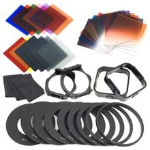 24 adet ND + mezun filtreler + 9 adet adaptör halkası, Lens Hood filtre tutucu cokin p serisi için