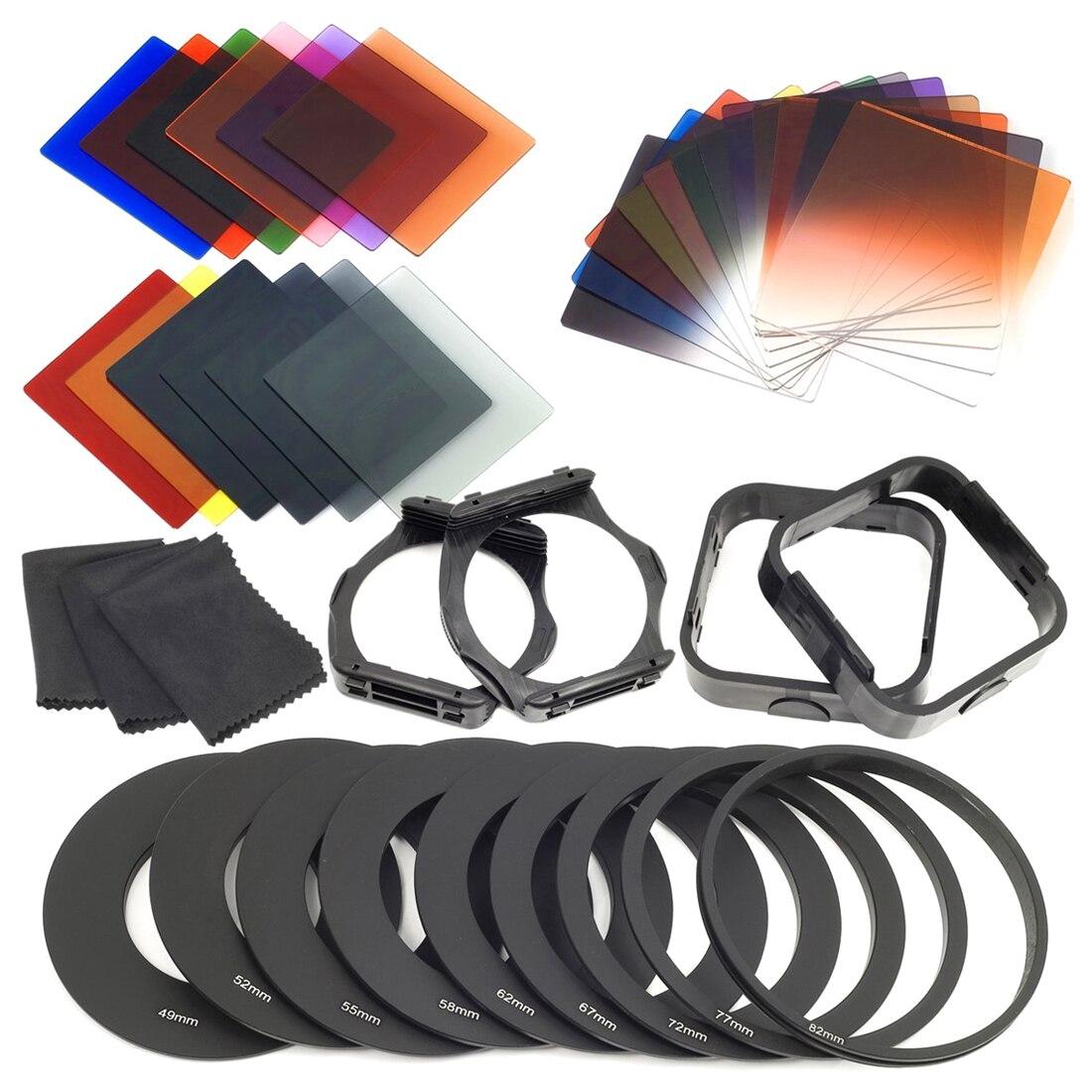 24 unids piezas ND + filtros graduados + anillo adaptador de 9 unids, soporte de filtro de capucha para la serie cokin p