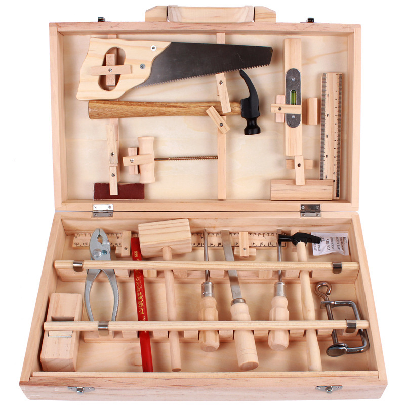 Children Real Life Wooden Tools Kit Pretend Toy Boys Box Maintain Tools Wooden Hammer Saw Screwdriver Birthday Gift