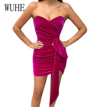 WUHE Off Shoulder Strapless Sexy Women Dress Sleeveless Hollow Out Bodycon Lace-up Casual Summer Party Club