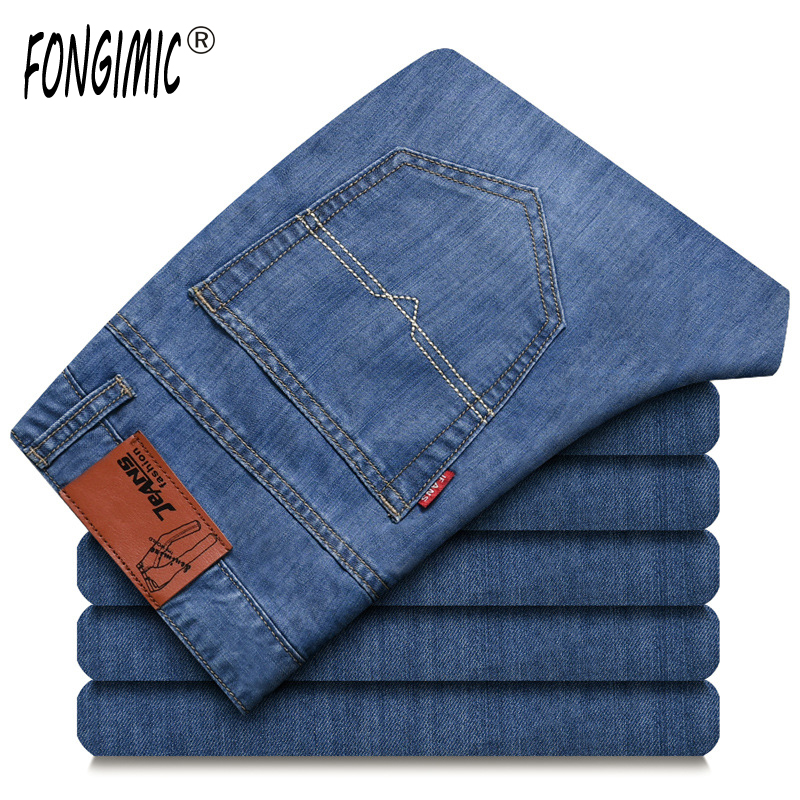 FONGIMIC New Men Clothing Summer Thin Casual Jeans Mid Waist Slim Long Trousers Straight High Quality Men's Business Denim Jeans fongimic new men clothing summer thin casual jeans mid waist slim long trousers straight high quality men s business denim jeans