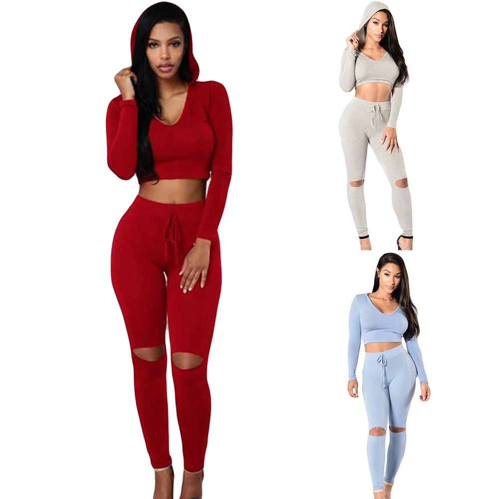 Sports Women Tracksuits Set Solid Color Slim Cropped Hoodies Ripped Hole Pants Wholesale