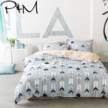 Papa&Mima Nordic style Arrows print Bedclothes Cotton Bedding Set Queen king Size Quilt Cover Pillowcase flat Bedsheet