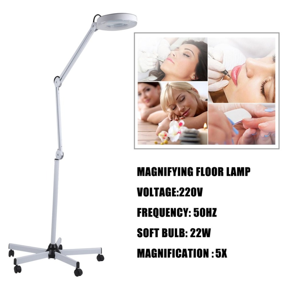 220V 50Hz 3X 5X Diopter LED Vertical Floor Stand Magnifying Lamp Stand Magnifier Glass Len Cold Light Facial Light EU Plug 220v 3x floor stand green optical glass lens led illuminated big magnifying glass large lamp magnifer with led light