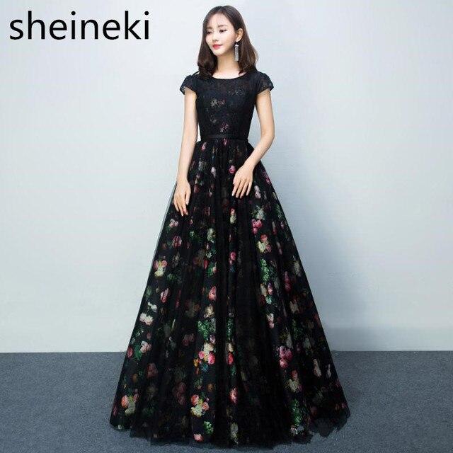 d25ab5d89e 2019 Robe De Soiree Lace Appliques Floral Print Evening Dresses Long Black Bridesmaid  Dresses Short Sleeves Formal Party Gowns