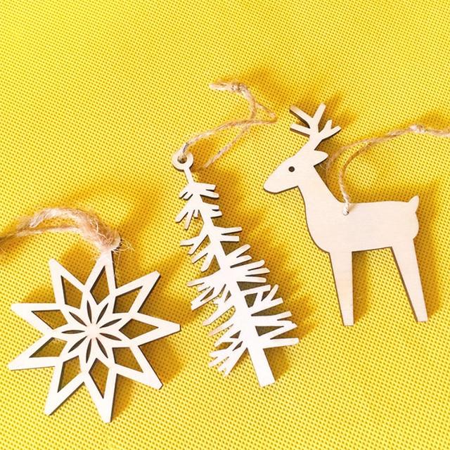 3 Pcs/ wood cutout deer/Christmas tree/snowflake/hanging home decor ...