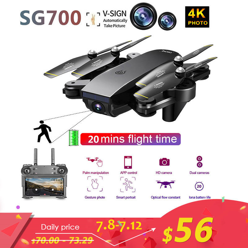 Lensoul SG700 Upgraded Foldable RC Drones WIFI FPV Dual Camera Follow Mode APP 4K