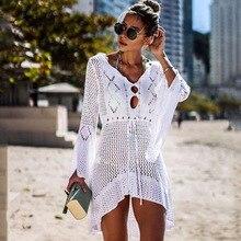 2019 Crochet Knitted Beach Cover up Women beach dress Tunic Pareos Bikinis Cover ups Swim Cover up Plage Summer Beachwear