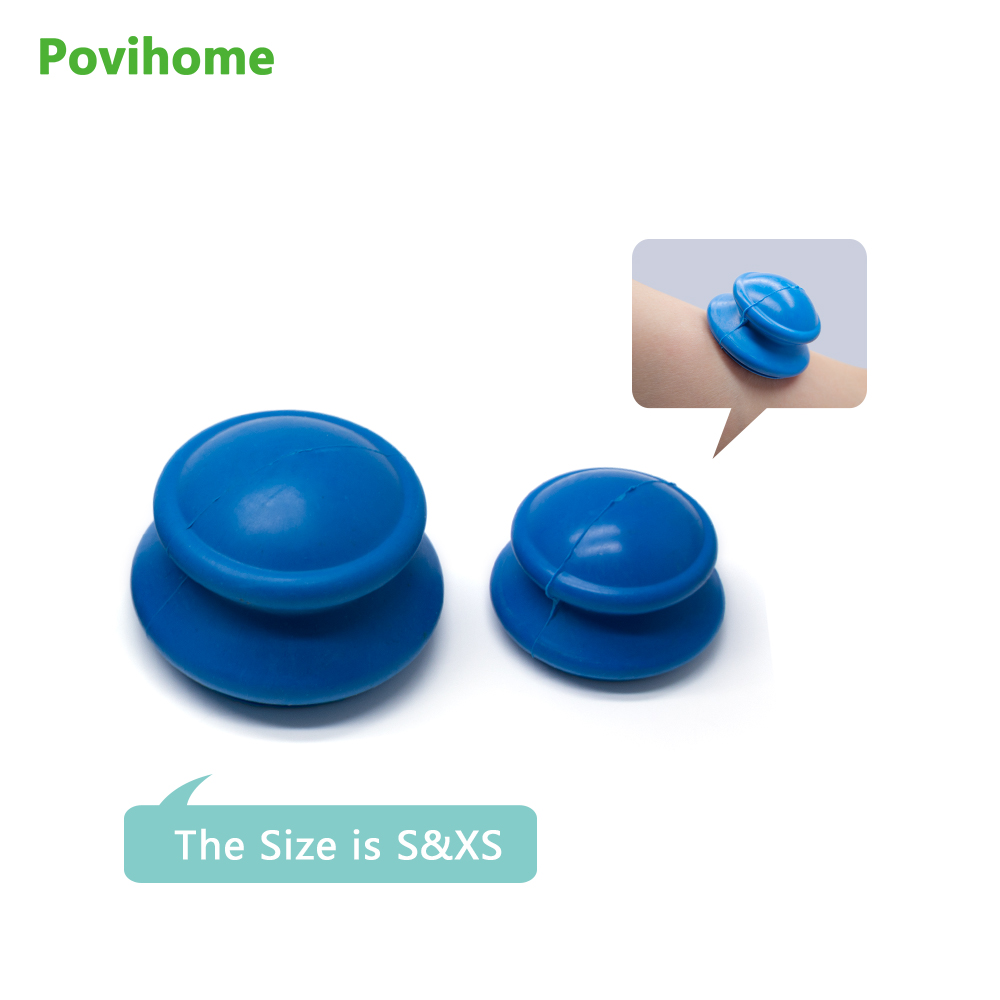 Povihome 2Pcs Cups Health Care Silicone Vacuum Cupping Cups Neck Face Back Massage Cupping Cups Relax Full Body Massager Jar silicone eye face cupping cups massage