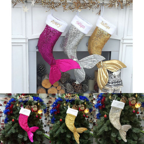 Luxury Christmas Stockings Uk.Us 3 13 15 Off Uk 18 Kids Luxury Mermaid Sequins Xmas Stocking Sack Santa Christmas Gifts Hot In Stockings Gift Holders From Home Garden On