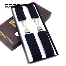 New Fshion Business Solid Elastic Shirt Suspender 4 Clip 3.5cm For Men Classic Simple Brace Male Clothing Accessories