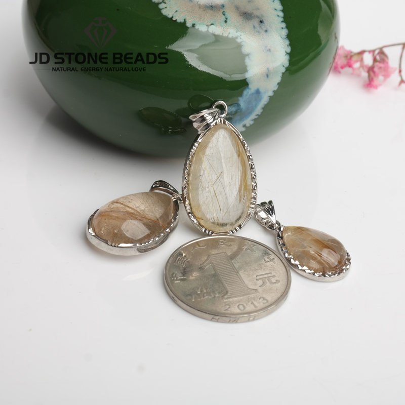 Free Shipping Natural Gold Hair Quartz Drop Shape Pendant Personal Design Gifts Accessory