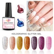 MEET ACROSS Holographic Nail Polish 8ml  Laser Holo Sequins Varnish Shining Glitter Nail Art Lacquer Gel Polish недорого