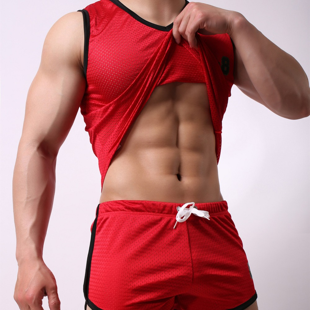 2019 Men Sport Drawstring None Student Breathable Sportswear Men Set Mens Clothing Runnings Suit Fitness Sporting Top And Shorts