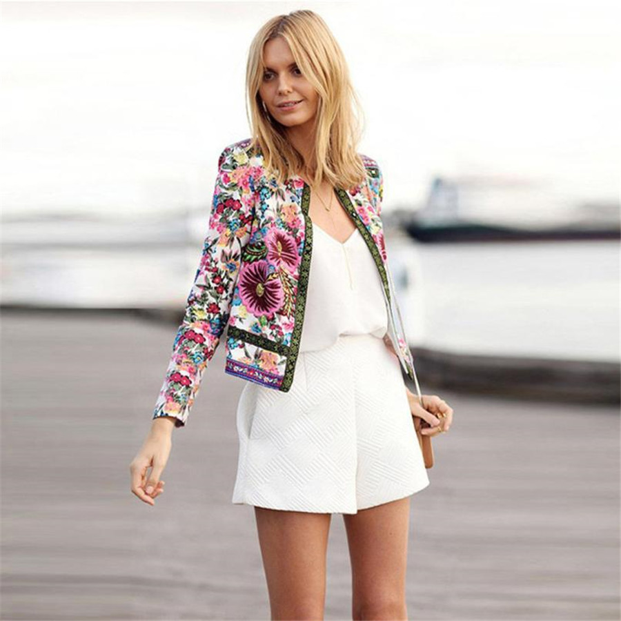 women's windbreaker Flower Print Women   Basic     Jacket   Long Sleeve Outwear Casual Coat Autumn chaqueta mujer #C