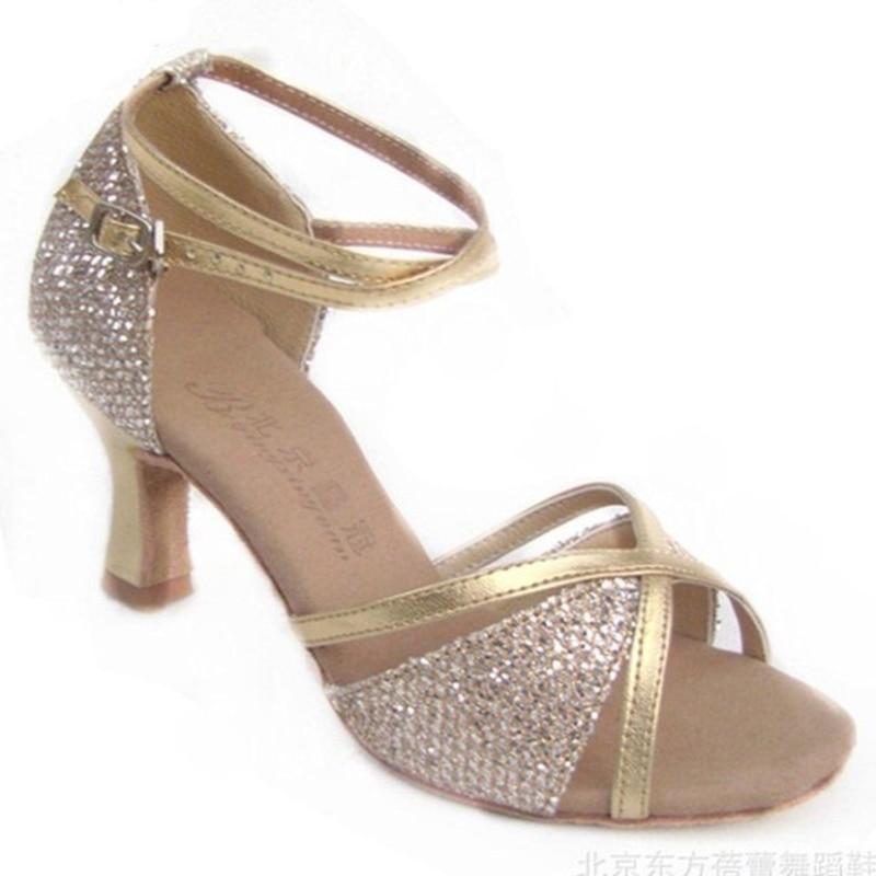 Sports shoes Dance shoes Women shoe LD-044 Ballroom latin dance shoes Authentic Thin heels 7cm Factory Outlet Hot cowhide Sole