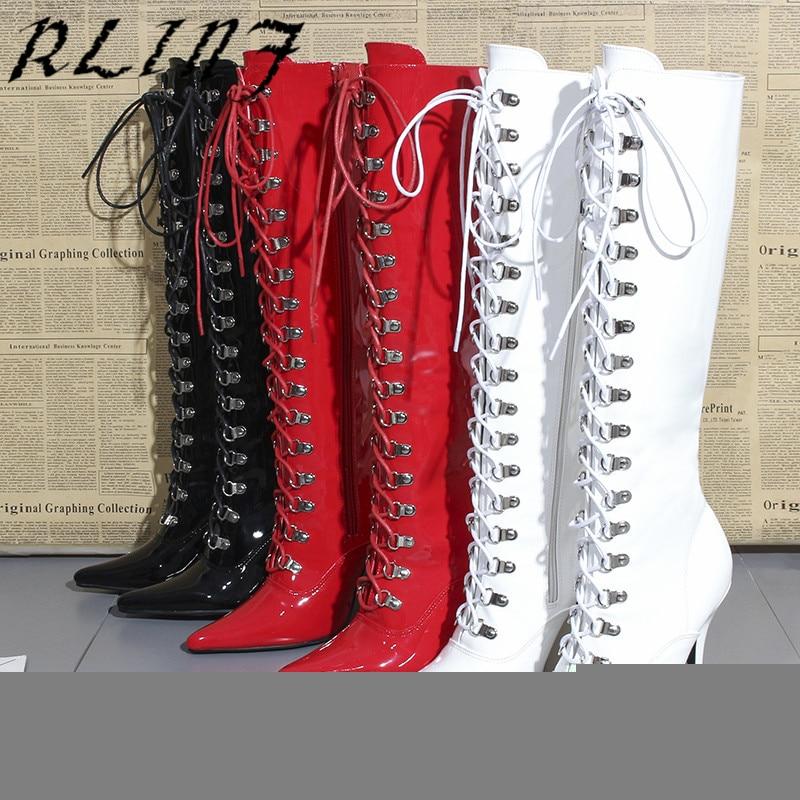 La Mujeres Puntiagudo Alto Gran Medio 45 35 Rodilla De Tacón Tamaño Negro blanco Botas Sexy Hasta Rlinf rojo tw4g8dqzt