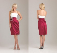 2015 New Arrival Red Livery  With Flower Band  Bridsmaids Gown  Strapless Pleat  Adult Satin Bridesmaid  Dress