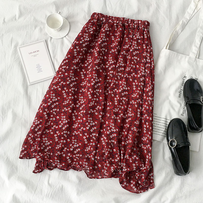 Long Section Skirt Spring And Summer 2019 New Women's Korean Version Of The Popular Elastic High Waist Floral Chiffon Skirt
