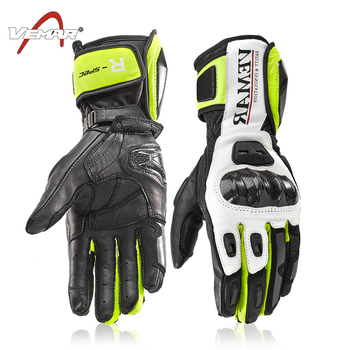 VEMAR Motorcycle Riding Leather Gloves Motorcycle Long Carbon Fiber Shell Gloves Men's Winter Dropping Windproof Touch Screen Gl