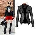 Mulheres jaqueta de couro primavera e outono 2017 novas mulheres casaco de couro short slim motocicleta couro clothing outerwear mulher negra