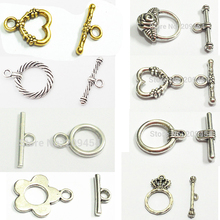 100 sets/bag Vintage Silver/Gold Alloy Flower/Crown/Heart/Round Shape Toggle Hook Clasps .Size Around :20mm*15mm