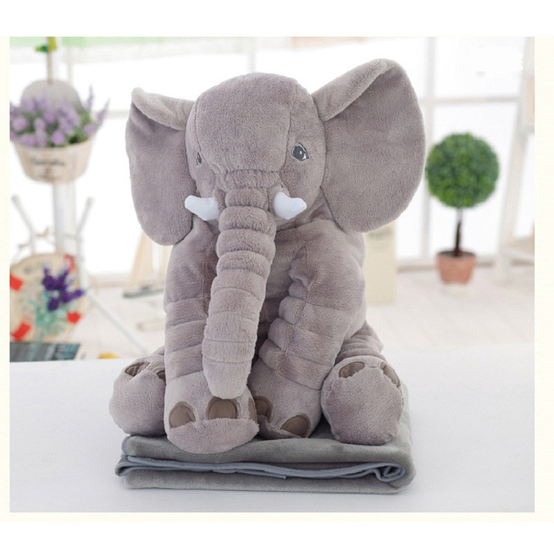 Dual-use elephant plush blanket doll blanket 80x100cm High Density Super Soft Flannel Blanket to on for the sofa/Bed/Car cartoon 1