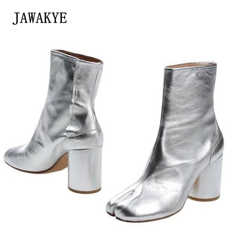 2018 Real Leather Silver Ankle Boots Woman Split Toe Round High Heel Short Boots Women Ninja Boots2018 Real Leather Silver Ankle Boots Woman Split Toe Round High Heel Short Boots Women Ninja Boots