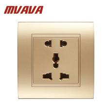 MVAVA Multi-Functional 5 Pins Wall Socket Power Outlet  Luxury Champagne Gold Safety Fire Proof PC Panel Socket Free Shipping