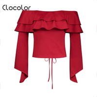 Clocolor Women Blouse Red Slim Slash Neck Ruffles Backless Patchwork Lace Up Top 2017 Autumn Fashion