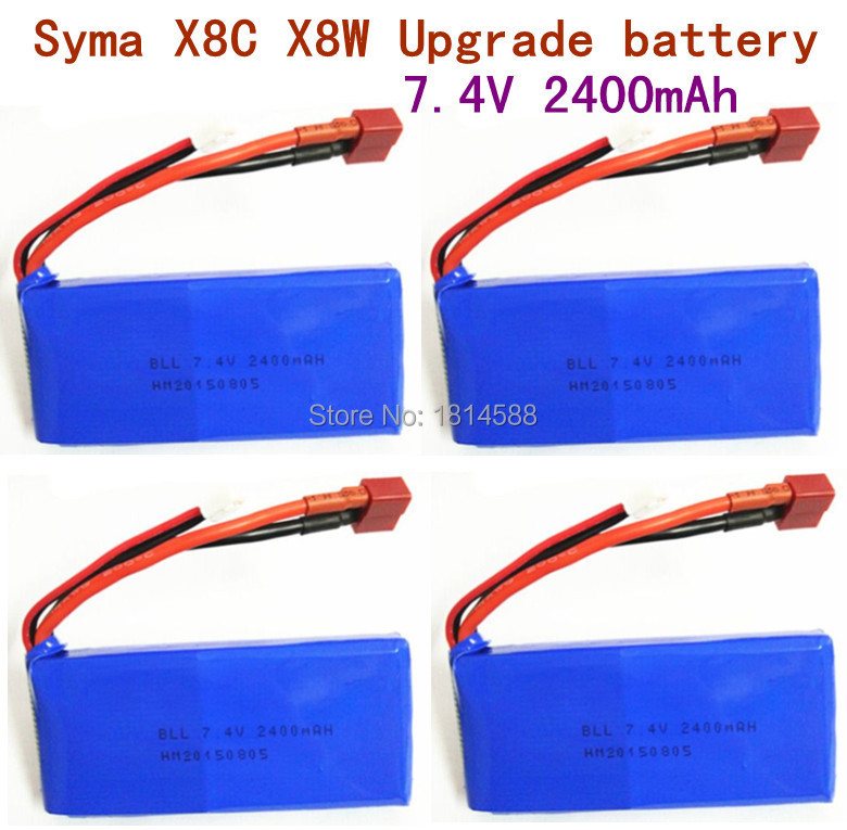 4 pcs SYMA X8 X8A X8C X8C-1 X8W X8G 7.4V 2400 mAh Li-po Battery RC Quadcopter X8C Spare Parts syma x8c x8w x8g rc quadcopter spare part upgraded 7 4v 2400mah li battery