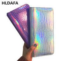 Portefeuille femmes sac à main holographique en cuir Laser organisateur portefeuilles dames Long bracelet sacs à main femme pièce fille sac à main carte poche