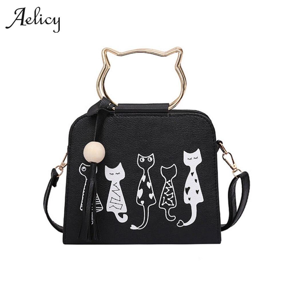 Aelicy 4 colores famoso diseño encantador de la PU de las mujeres de la solapa de cuero bolsas de mujer gato lindo bolsos Messenger Bolsa femenina 1010