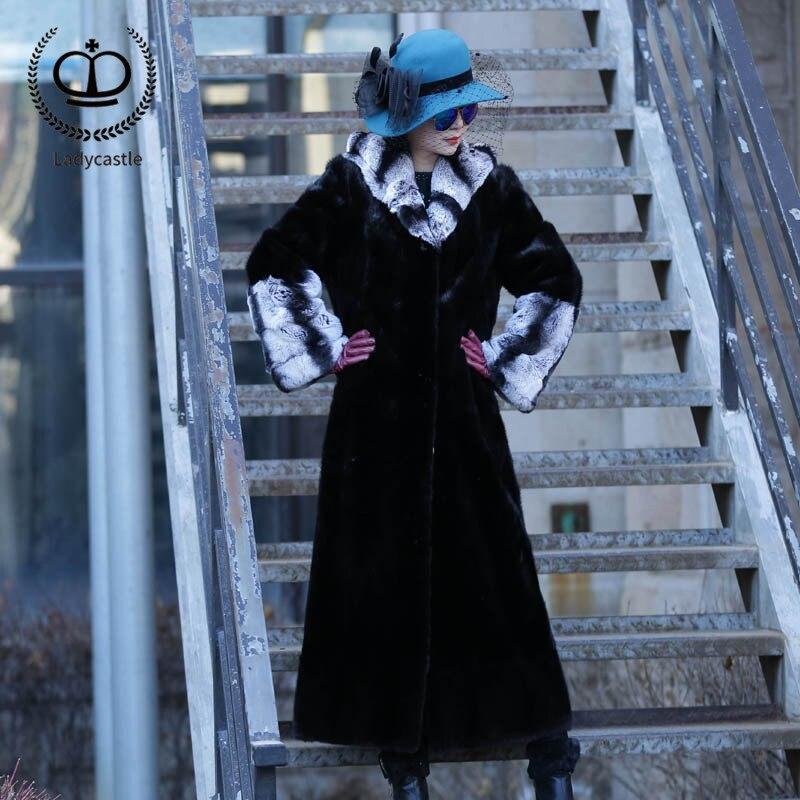 2018 Nouvelle Réel Chinchilla Rex Lapin Manteau De Fourrure Pleine Pelt Avec Capot Naturel Long Manteau Femmes De Fourrure De Lapin Veste Véritable hiver RB-045