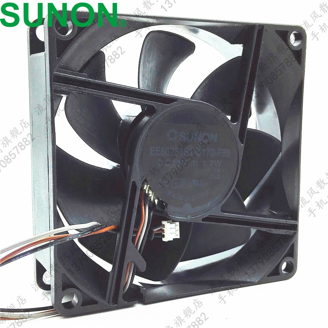 SUNON Cooling fan EE80251S1-D170-F99 DC 12V 1.7W 3-pin 3-pin connector 80mm 80x80x25mm Server Square fan
