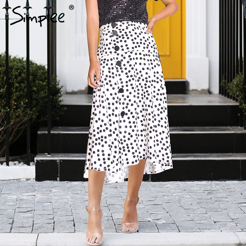Simplee Retro polka dot chiffon midi skirt women Casual streetwear summer skirt 2018 Button pleated high waist white skirt