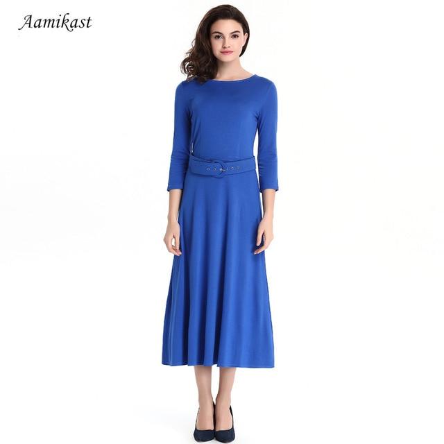 AAMIKAST Women Dresses O-neck Three Quarter Sleeve Casual Party Vintage  Long Dresses With Belt S M L XL XXL XXXL 58051003af62
