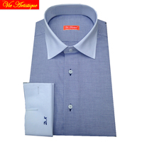 male long sleeve business formal dress blue oxford white french cuff wedding shirts men's big size casual cotton shirt tailored