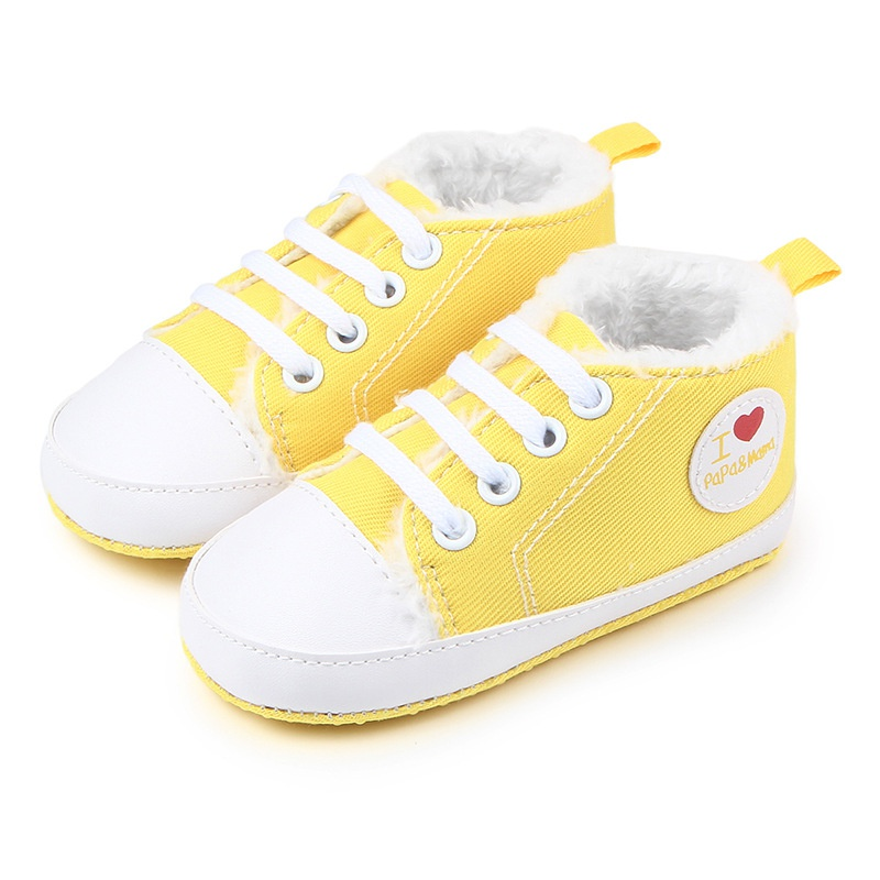 Winter Soft Bottom Love Heart Baby Shoes Lace-Up Infant Newborn Baby Boy Girl Thicker First Walkers Sole Shoes Sneaker 0-12M