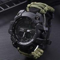 Addies Shock Sport Watch Big Dial Quartz Digital Military Waterproof Men Wristwatches Male Clock Sports Men's Watch With Compass|Digital Watches| |  -