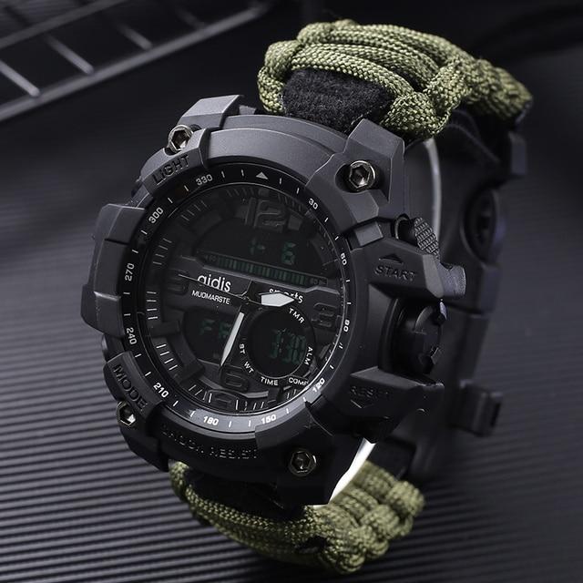 Addies choque esporte relógio grande dial quartzo digital militar à prova dmilitary água masculino relógios de pulso masculino relógio esportivo masculino com bússola