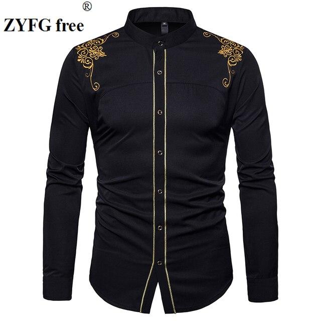 Ab boyutu erkeklerin gündelik uzun kollu gömlek standı boyun çin tarzı üstleri gömlek erkek nakış desen pamuk blend gömlek